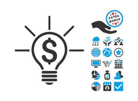 Financial Idea Bulb pictograph with bonus pictures. Glyph illustration style is flat iconic bicolor symbols, blue and gray colors, white background. Stock Photo