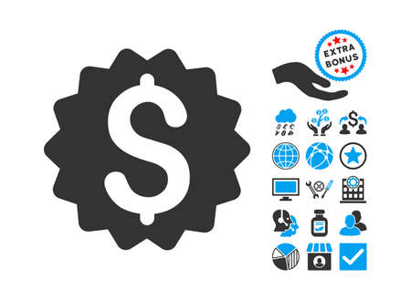 financial reward: Financial Reward Seal pictograph with bonus symbols. Glyph illustration style is flat iconic bicolor symbols, blue and gray colors, white background.