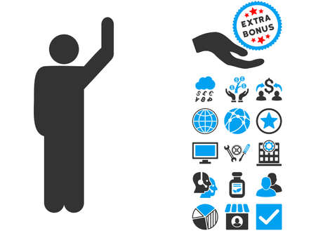 Hitchhike Pose icon with bonus pictograph collection. Glyph illustration style is flat iconic bicolor symbols, blue and gray colors, white background.