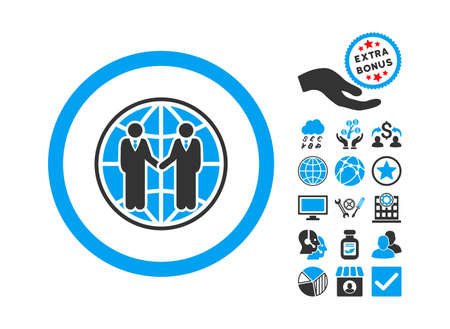 global partnership: Global Partnership pictograph with bonus pictures. Glyph illustration style is flat iconic bicolor symbols, blue and gray colors, white background. Stock Photo