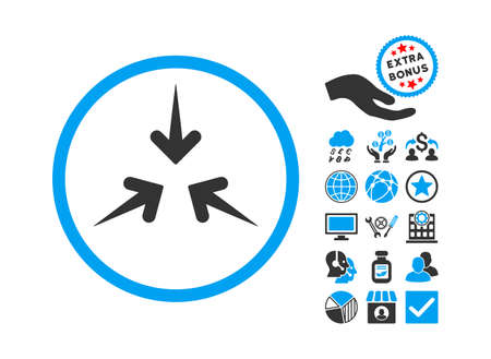 compress: Impact Arrows pictograph with bonus clip art. Glyph illustration style is flat iconic bicolor symbols, blue and gray colors, white background.