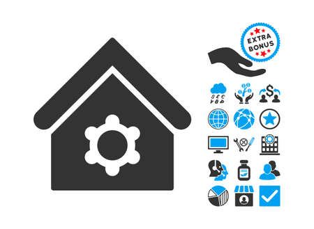 config: Industrial Building icon with bonus symbols. Glyph illustration style is flat iconic bicolor symbols, blue and gray colors, white background. Stock Photo