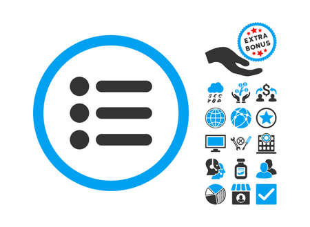 item list: Items icon with bonus pictograph collection. Glyph illustration style is flat iconic bicolor symbols, blue and gray colors, white background. Stock Photo