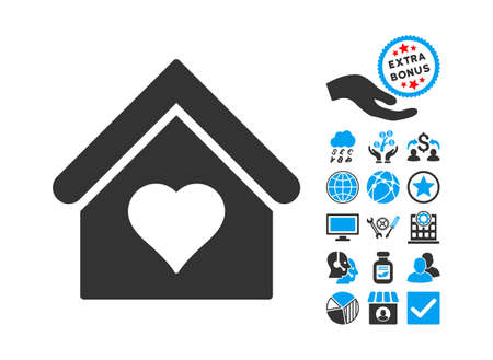Love House icon with bonus symbols. Glyph illustration style is flat iconic bicolor symbols, blue and gray colors, white background.