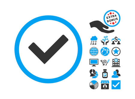 Ok pictograph with bonus symbols. Glyph illustration style is flat iconic bicolor symbols, blue and gray colors, white background.