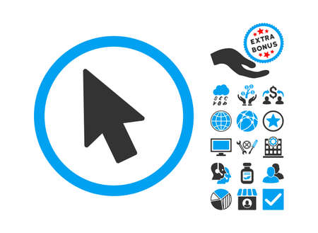 mouse pointer: Mouse Pointer pictograph with bonus pictograph collection. Glyph illustration style is flat iconic bicolor symbols, blue and gray colors, white background. Stock Photo