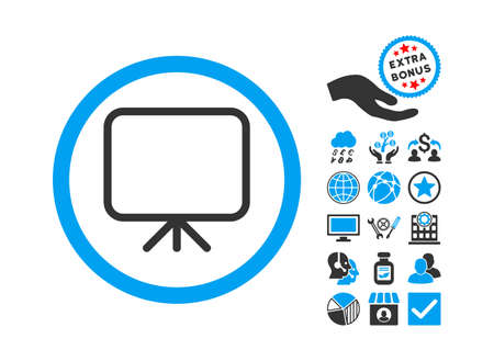 Presentation Screen icon with bonus symbols. Glyph illustration style is flat iconic bicolor symbols, blue and gray colors, white background.