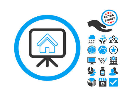 slideshow: Project Slideshow icon with bonus design elements. Glyph illustration style is flat iconic bicolor symbols, blue and gray colors, white background.