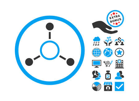 Radial Structure icon with bonus pictogram. Glyph illustration style is flat iconic bicolor symbols, blue and gray colors, white background.