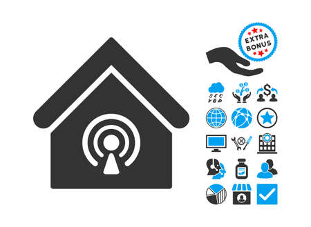radio station: Radio Station pictograph with bonus clip art. Glyph illustration style is flat iconic bicolor symbols, blue and gray colors, white background.