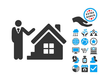realty: Realty Agent pictograph with bonus pictogram. Glyph illustration style is flat iconic bicolor symbols, blue and gray colors, white background.
