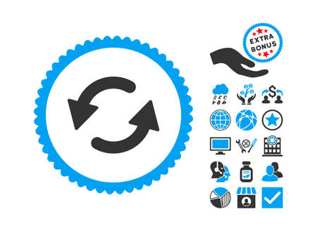 Refresh Ccw pictograph with bonus symbols. Glyph illustration style is flat iconic bicolor symbols, blue and gray colors, white background.