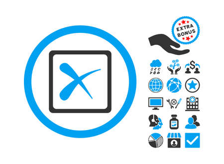 Reject icon with bonus symbols. Glyph illustration style is flat iconic bicolor symbols, blue and gray colors, white background. Stock Photo