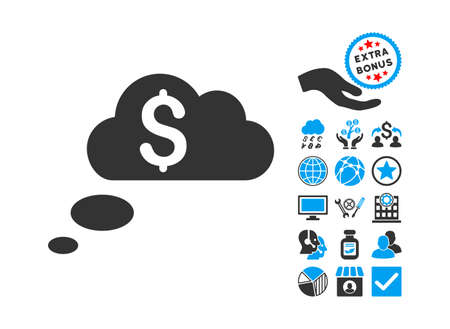 richness: Richness Dream Clouds pictograph with bonus elements. Glyph illustration style is flat iconic bicolor symbols, blue and gray colors, white background.