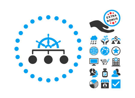 administer: Rule icon with bonus symbols. Glyph illustration style is flat iconic bicolor symbols, blue and gray colors, white background.