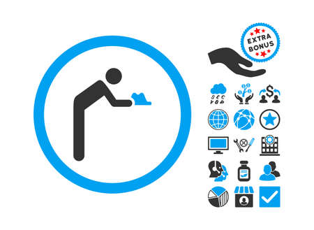 beggary: Servant pictograph with bonus icon set. Glyph illustration style is flat iconic bicolor symbols, blue and gray colors, white background.