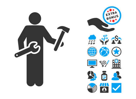 serviceman: Serviceman icon with bonus icon set. Glyph illustration style is flat iconic bicolor symbols, blue and gray colors, white background. Stock Photo