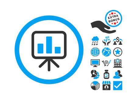 slideshow: Slideshow Screen icon with bonus pictogram. Glyph illustration style is flat iconic bicolor symbols, blue and gray colors, white background. Stock Photo