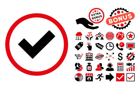 accept icon: Accept icon with bonus pictures. Vector illustration style is flat iconic bicolor symbols, intensive red and black colors, white background.