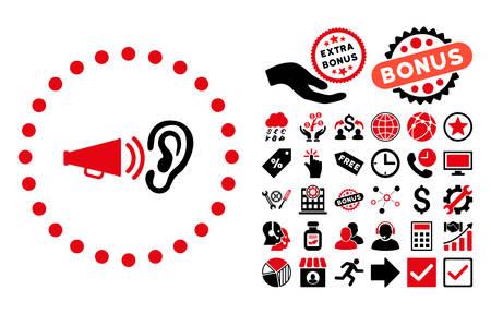 Advertentiepictogram met bonussymbolen. Vector illustratie stijl is plat iconische bicolor symbolen, intensieve rode en zwarte kleuren, witte achtergrond.