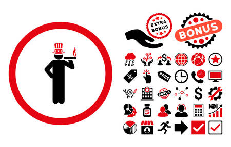 American Capitalist icon with bonus symbols. Vector illustration style is flat iconic bicolor symbols, intensive red and black colors, white background.