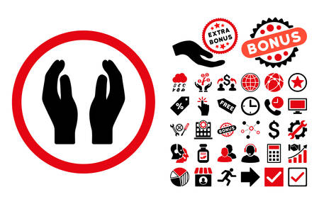 Applause Hands pictograph with bonus elements. Vector illustration style is flat iconic bicolor symbols, intensive red and black colors, white background. Illustration
