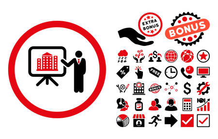 iconic architecture: Architecture Presentation icon with bonus pictograph collection. Vector illustration style is flat iconic bicolor symbols, intensive red and black colors, white background.