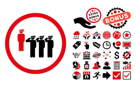 command: Army Squad pictograph with bonus clip art. Vector illustration style is flat iconic bicolor symbols, intensive red and black colors, white background. Illustration