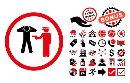 Arrest pictograph with bonus clip art. Vector illustration style is flat iconic bicolor symbols, intensive red and black colors, white background. Illustration
