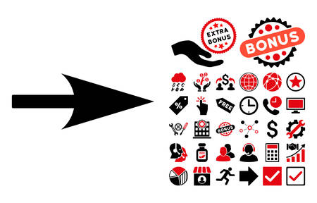 x axis: Arrow Axis X pictograph with bonus elements. Vector illustration style is flat iconic bicolor symbols, intensive red and black colors, white background. Illustration