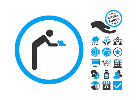 miserable: Servant pictograph with bonus symbols. Vector illustration style is flat iconic bicolor symbols, blue and gray colors, white background. Illustration