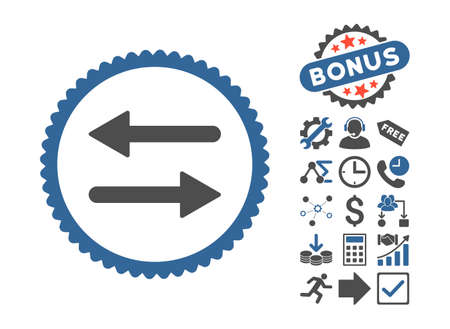 Arrows Exchange pictograph with bonus elements. Glyph illustration style is flat iconic bicolor symbols, cobalt and gray colors, white background.
