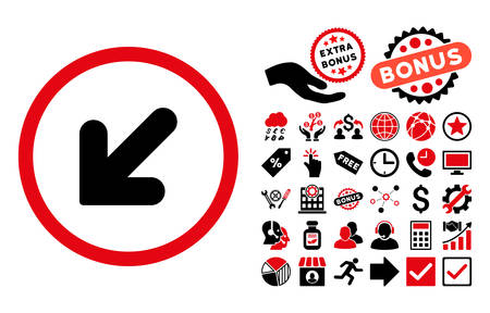 inclination: Arrow Down Left icon with bonus icon set. Vector illustration style is flat iconic bicolor symbols, intensive red and black colors, white background. Illustration