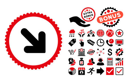 inclination: Arrow Down Right icon with bonus pictograph collection. Vector illustration style is flat iconic bicolor symbols, intensive red and black colors, white background. Illustration