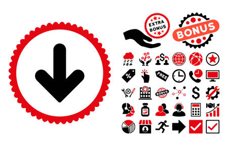 Arrow Down pictograph with bonus symbols. Vector illustration style is flat iconic bicolor symbols, intensive red and black colors, white background. Illustration