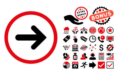 Arrow Right icon with bonus icon set. Vector illustration style is flat iconic bicolor symbols, intensive red and black colors, white background.