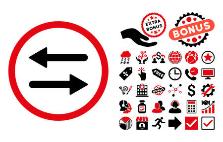 Arrows Exchange icon with bonus pictogram. Vector illustration style is flat iconic bicolor symbols, intensive red and black colors, white background.