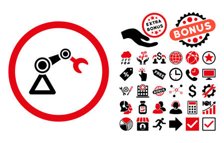 manipulator: Artificial Manipulator icon with bonus pictograph collection. Vector illustration style is flat iconic bicolor symbols, intensive red and black colors, white background.
