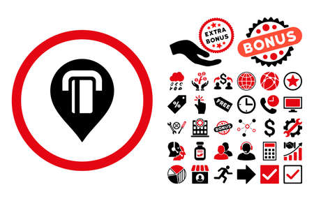 ATM Map Marker pictograph with bonus pictures. Vector illustration style is flat iconic bicolor symbols, intensive red and black colors, white background.