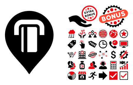 map marker: ATM Map Marker icon with bonus pictograph collection. Vector illustration style is flat iconic bicolor symbols, intensive red and black colors, white background. Illustration