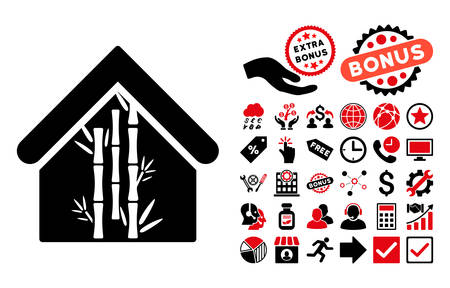 bamboo house: Bamboo House icon with bonus icon set. Vector illustration style is flat iconic bicolor symbols, intensive red and black colors, white background.
