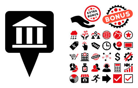 financial position: Bank Building Pointer icon with bonus symbols. Vector illustration style is flat iconic bicolor symbols, intensive red and black colors, white background. Illustration