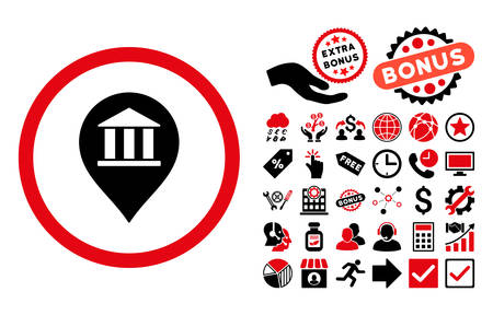 financial position: Bank Building Pointer pictograph with bonus clip art. Vector illustration style is flat iconic bicolor symbols, intensive red and black colors, white background.