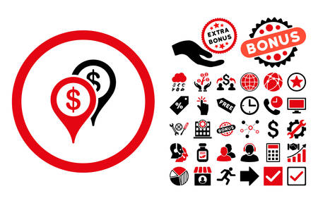 financial position: Bank Places pictograph with bonus clip art. Vector illustration style is flat iconic bicolor symbols, intensive red and black colors, white background.