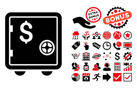 strong box: Banking Safe icon with bonus images. Vector illustration style is flat iconic bicolor symbols, intensive red and black colors, white background.