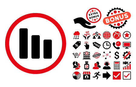 decrease: Bar Chart Decrease pictograph with bonus symbols. Vector illustration style is flat iconic bicolor symbols, intensive red and black colors, white background.