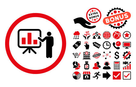 presentaion: Bar Chart Presentation pictograph with bonus symbols. Vector illustration style is flat iconic bicolor symbols, intensive red and black colors, white background. Illustration