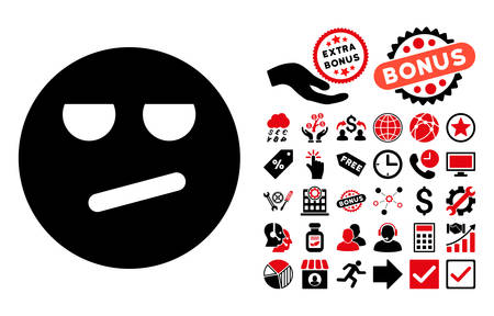 miserable: Bored pictograph with bonus symbols. Vector illustration style is flat iconic bicolor symbols, intensive red and black colors, white background. Illustration