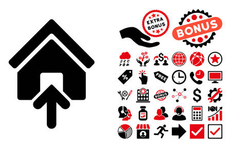 building entrance: Building Entrance pictograph with bonus icon set. Vector illustration style is flat iconic bicolor symbols, intensive red and black colors, white background.