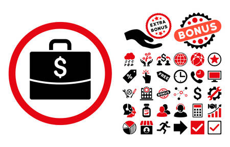 business case: Business Case pictograph with bonus images. Vector illustration style is flat iconic bicolor symbols, intensive red and black colors, white background.
